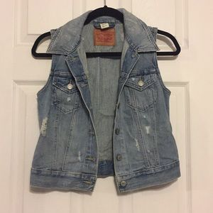 lightly distressed levi denim vest